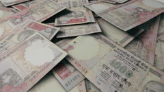 Realistic single notes scattered RUPEE view 1 Stock Footage