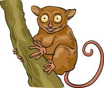 tarsier animal cartoon illustration - stock illustration