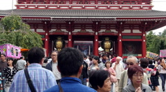 Time Lapse of People at Main Entrance of Sensoji Temple  -  Tokyo Japan Stock Footage