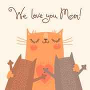 Stock Illustration of Sweet card for Mothers Day with cats