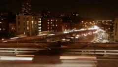 city urban traffic at night lights. cars moving time lapse - stock footage