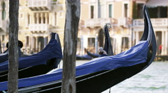 Gondolas Float in the Grand Canal in Venice, Italy 4K Stock Video Footage Stock Footage
