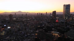 View of Tokyo metropolitan area cityscape at dusk, Tokyo, Japan Stock Footage