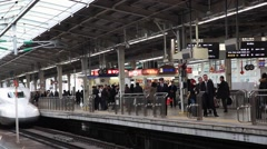 Osaka, JP - January 24, 2015:  N700 Series Shinkansen bullet train arriving at Stock Footage