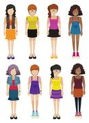 Faceless ladies wearing fashionable dresses - stock illustration