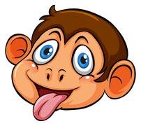 A head of a playful monkey - stock illustration