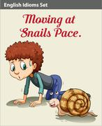 Stock Illustration of A boy and a snail