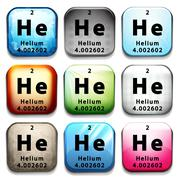 A button showing the chemical element Helium Stock Illustration