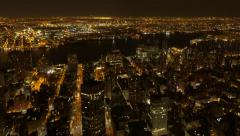 Aerial view of big city at night. overlooking cityscape. nights lights Stock Footage