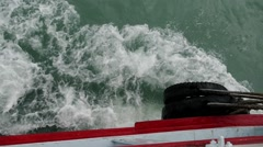 Close-up of Fender of the Sailing Ferry in the Sea Stock Footage