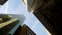 vertical view of modern skyscraper buildings. urban city background - stock footage