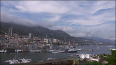 Stock Video Footage of Monaco Monte Carlo Skyline French Riviera Cote d'Azur, real time
