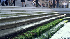 Rising Sea Water Splashes Steps Grand Canal Venice, Italy 4K Stock Video Footage Stock Footage