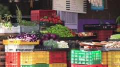 Tracking shot of fruit and vegetable market in Panama Stock Footage
