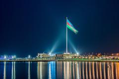 National Flag square in Baku Azerbaijan Stock Photos