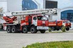 Fire truck ladder - stock photo