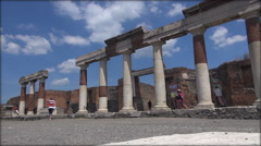 Spectators visit historic ruin of Pompeii city, real time, hd - stock footage