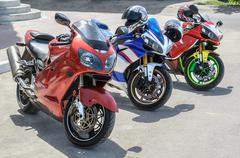 group of motorcycle parking - stock photo