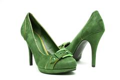 Green and Yellow High Heels on a White Background Stock Photos