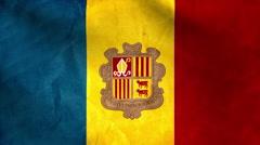 National flag of Andorra, grunge Stock Footage