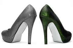 Womens high heels on white background Stock Photos