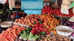 Pan shot of vegetables ready to sell in market, Panama Stock Footage