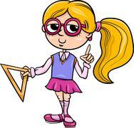 Grade school girl cartoon illustration Stock Illustration