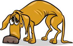 sad homeless dog cartoon illustration - stock illustration