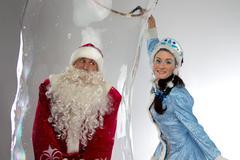 Photo of Santa Claus in soap bubble - stock photo