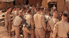 Group of American soldiers listening orders from commander, Iraq - stock footage
