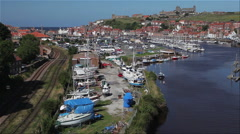 RIVER ESK MARINA & ABBEY, WHITBY, YORKSHIRE, ENGLAND Stock Footage