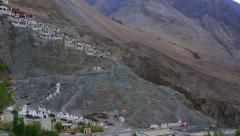Built Diskit Monastery in Nubra Valley Stock Footage