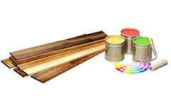 New oak parquet and paints Stock Photos