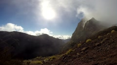 Real time inside mountain clouds Pico do Arieiro in Madeira - stock footage
