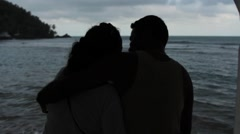 Couple hugging and kissing at beach, Panama Arkistovideo