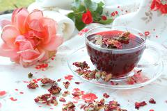 Rose petals tea Stock Photos