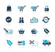 Shopping Web Icons // Azure Series - stock illustration