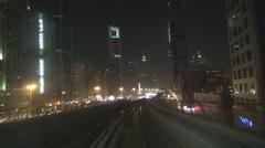 POV Point of view Dubai metro train night famous skyscraper cityscape trip view  Stock Footage