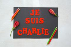 """Message in red:"""" Je suis Charlie"""" - """"I am Charlie"""" - stock photo"""
