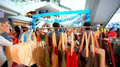 BANGKOK 3 august, 2014. People shopping at Central World Shopping Center. HD Stock Footage