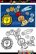 Solar system cartoon coloring book Piirros