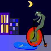 Alien on velocipede in puddle - stock photo