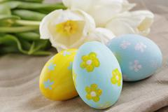 handpainted easter eggs and white tulips on wood table - stock photo