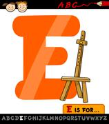 letter e with easel cartoon illustration - stock illustration