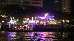 Night party river POV from boat Stock Footage