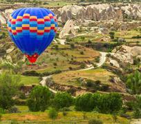 Air balloon in mountain Stock Photos
