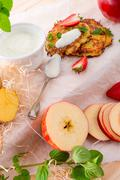 Potato pancakes with apfel and strawberry Stock Photos