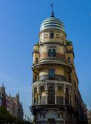 Seville, Spain - August 22, 2012: Facade of the famus Edificio Renta antigua Stock Photos