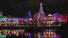 Pan - Vandusen festival of lights lake Stock Footage
