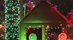 Van dusen - gingerbrean men and house in colorful house Stock Footage